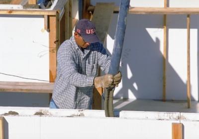 Pouring Concrete for Home Foundation