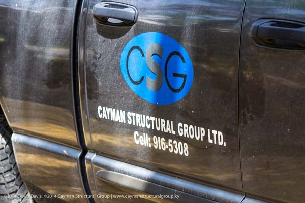 Cayman Structural Group Logo and Truck for Safe Room