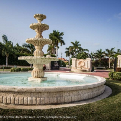 Custom fountain design and development contracting services on the Cayman Islands.