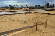 The worksite where the 20,000 square foot luxury custom home will one day stand in the prestigious Vista del Mar community.
