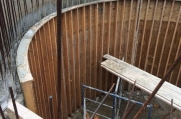 Custom wooden molds were created to form this curved concrete wall.