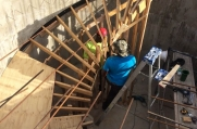 Spiral staircase built with wooden foundation to begin.