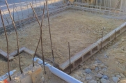 Rebar exposed where a floor is going to be built.