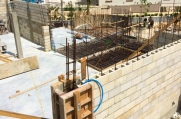 Rebar exposed where concete is yet to be poured.