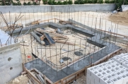 Rebar exposed to show the beginning of an alcove construction.
