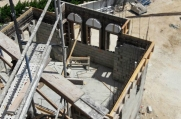 Aerial view of the second floor frame.
