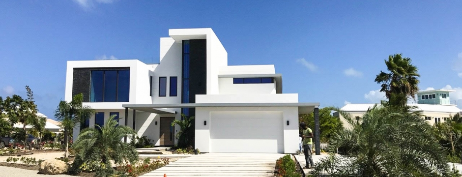 Front view of the luxury home.