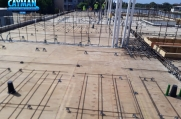Rebar in the second level decking.